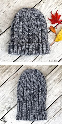 Warm Cable Beanies Free Knitting Patterns Grey winter hat and red leaves Jason s Cashmere Hat is unisex so you can make it for woman or man Thanks to the beautiful Beanie Knitting Patterns Free, Beanie Pattern Free, Crochet Patterns, Slouchy Beanie Pattern, Knitting Basics, Knit Headband Pattern, Easy Knitting, Knitting Needles, Knit Hat For Men