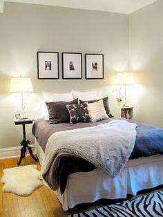 Guest bed: simple clean bedroom with pretty blue and grey Unfinished Basement Bedroom, Basement Master Bedroom, Master Suite Bedroom, Basement Guest Rooms, Clean Bedroom, Home Bedroom, Basement Ideas, Kids Bedroom, Teen Bedroom Designs