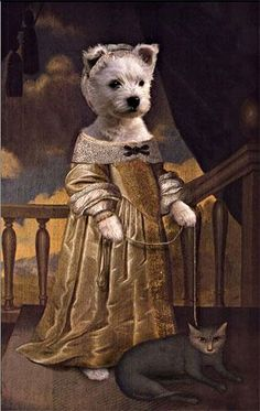 Pet Portraits, Custom pet art by european artist Valerie Leonard Costume Chien, Animals And Pets, Cute Animals, Animal Dress Up, Les Fables, West Highland Terrier, Animal Heads, Dog Paintings, White Dogs