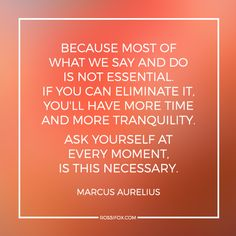 Because most of what we say and do is not essential. If you can eliminate it, you'll have more time and more tranquility. Ask yourself at every moment, is this necessary. -Marcus Aurelius (Quote About Tranquility) Wisdom Quotes, Me Quotes, Qoutes, Great Quotes, Inspirational Quotes, Motivational People, Cool Words, Wise Words, Marcus Aurelius Quotes