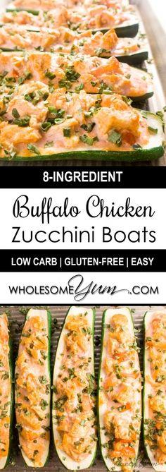 Buffalo Chicken Zucchini Boats (Low Carb, Gluten-Free) | Wholesome Yum…