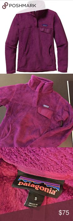 Patagonia Women's Re-Tool Snap-T Fleece Pullover 100% Polyester fleece  Slim fit, fleece pullover Stand-up collar has double fleece for warmth   In excellent condition with no defects!  Color: Violet Red Patagonia Jackets & Coats