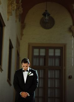 Quiet Moment with the Groom as he waits for his Bride for their Wedding First Look / Wedding of Lauren & Willie at The Biltmore Miami Florida / Photo by Maloman Studios