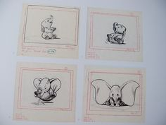 Dumbo Sketches...would be super cute for a baby nursery! Or bathroom..with scenes of dumbo in wash bucket