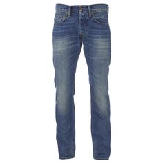 Edwin Men's ED55 Relaxed Tapered Denim Jeans - Mid Glint Used ($130) ❤ liked on Polyvore featuring men's fashion, men's clothing, men's jeans, blue, mens relaxed fit jeans, mens tapered jeans, mens jeans and mens blue jeans