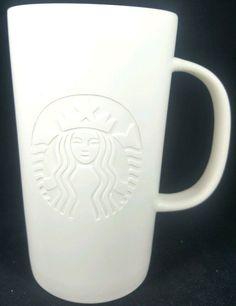 2014 Starbucks LARGE Solid White Embossed Mermaid Logo Tall Coffee Cup Mug 16 oz #Starbucks