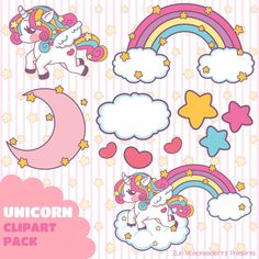INSTANT DOWNLOAD!! >w< Unicorn Clipart Super Pack on Etsy, $67.75