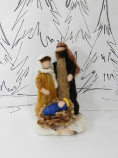 Needle felted Nativity scene, Waldorf Christmas Nativity, wool roving figures, Mary, Joseph, baby Jesus, ornament, Ready to mail now