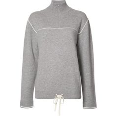 Chloé zipped collar jumper (€1.070) ❤ liked on Polyvore featuring tops, sweaters, grey, grey turtleneck, long sleeve jumper, gray turtleneck sweater, grey jumper and long sleeve sweater