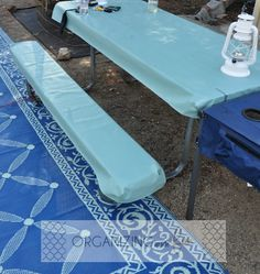 Picnic table cover to protect your buns :: OrganizingMadeFun.com