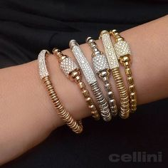 Getting ready to stretch out and relax this weekend... #tgif gold and diamond elastic bracelets now on www.CelliniJewelers.com and available at Cellini Jewelers NYC Diy Jewelry, Gold Jewelry, Beaded Jewelry, Jewelery, Jewelry Bracelets, Handmade Jewelry, Jewelry Making, Bangles, Friendship Bracelets Tutorial