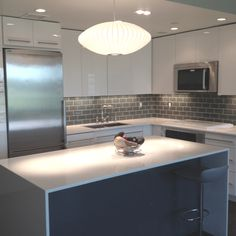 New York loft style kitchen #backsplash. Glass #subway #tile