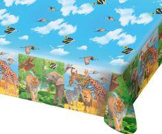 Mantel SAFARI & SALVAJE ANIMALES para Fiesta y Cumpleaños de FLOTADOR 62003 Cumpleaños de niños Set Tabla Cubierta Jungla León Affe Cebra Jirafa