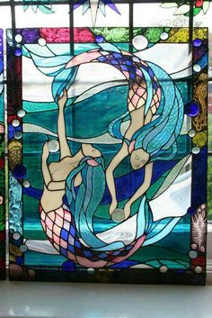 stained glass mermaid chiakis work stained glass panel the mermaids Stained Glass Projects, Stained Glass Patterns, Stained Glass Panels, Stained Glass Art, Mosaic Art, Mosaic Glass, Mermaid Fairy, Mermaid Glass, Mermaid Tale