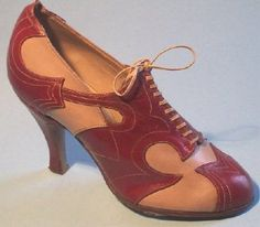 """English red and cream leather oxford - c. 1934 - @~ Mlle"" (...maybe these instead of penny loafers?)"