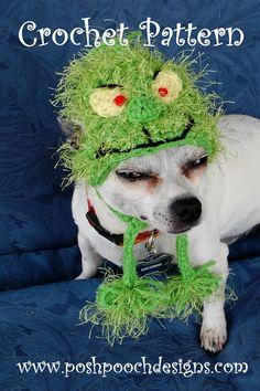 Crochet Pattern Christmas Grinch Dog Hat by poshpoochdesigns, $3.99