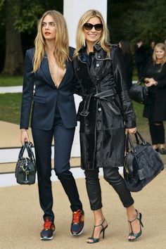Cara Delevingne and Kate Moss in Burberry