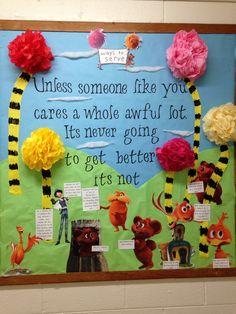 Lorax Bulletin Board #Seuss #waystoserve #reslife
