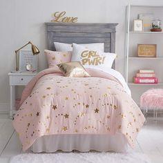 Frank And Lulu Lucky Star Midweight Embellished Comforter Set - JCPenney Teen Bedroom Designs, Room Ideas Bedroom, Girls Bedroom, Bedroom Decor, Preteen Girls Rooms, Bedding Decor, Bedroom Rustic, White Bedroom, Master Bedroom