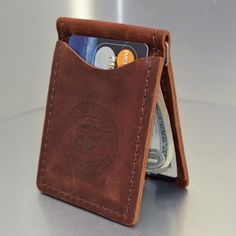 Marine Corps Premium Leather Money Clip and Card Holder
