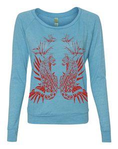 WOMENs JUNGLE JAGUAR Boho Gypsy Sweater Raglan by FreeBirdCloth, $30.00