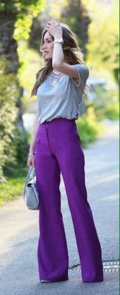 55 Ways To Wear Stylish And Comfy Wide Leg Pants You Should To Copy 19 55 Ways To Wear Stylish And Comfy Wide Leg Pants You Should To Copy Damen Jogginghose Sporthose Weich Bequem Bootcut Hose Schlaghose High Wai. Lila Outfits, Spring Outfits, Cute Outfits, Purple Pants Outfit, Purple Outfits, Palazzo Pants Outfit, Wide Leg Trousers, Wide Leg Pants, Wide Legs
