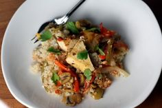 Baked Tofu with Peppers and Olives - tasty, but would I exert the effort?