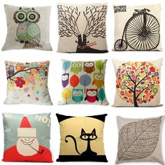 """New Home Decorative Throw Pillow 18"""" Vintage Decorbox Cotton Linen Square Cute Cartoon high quality Home Textiles free shipping"""