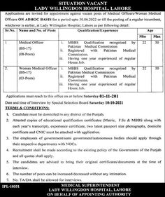 Women Medical Officer Jobs in Lahore Lady Willingdon Hospital 2021