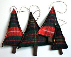 Plaid Christmas tee ornaments