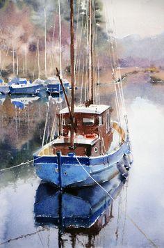 Galina Gomzina    Calm on the bay Krinen ( Scotland)