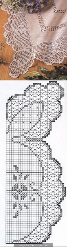 Filet crochet edging, including corner ~~ flowers design with scallops ~~ http://www.liveinternet.ru/users/mosja1/post283753484/ ~~ Notice the beautiful drawn thread work in the photo