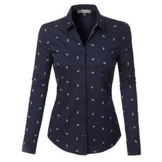 LE3NO Womens Casual Nautical Print Long Sleeve Button Down Shirt (380 MXN) ❤ liked on Polyvore featuring tops, shirts, camisas, patterned button up shirts, button up shirts, long-sleeve shirt, long sleeve tops and patterned button down shirts