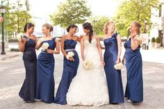 long & formal navy bridesmaid dresses Photography By / http://carolinefrostphotography.com,Floral Design By / http://saffron-brooklyn.com