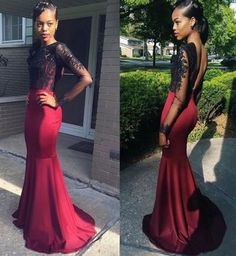 Elegant Long Backless Prom Dress - Burgundy Mermaid Top with Black Lace