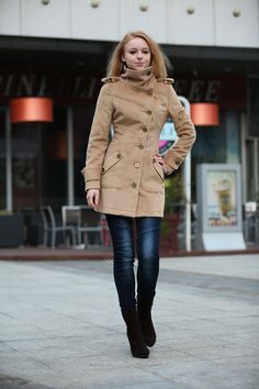 Army Green Fitted Cashmere Coat Military Jacket Winter Wool Coat