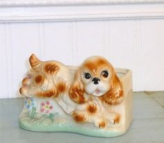 SOLD***********************************************Vintage Playful Puppy planter by Crybabe on Etsy, $8.00