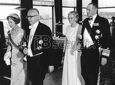 Queen Ingrid wore this tiara for a dinner during the German State Visit on June 10, 1970.