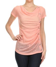This Peach Side-Ruched Drape Top by J-Mode USA Los Angeles is perfect! #zulilyfinds