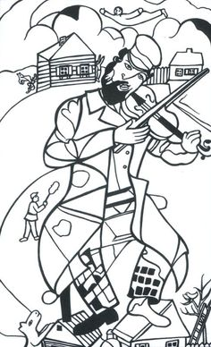 Chagall- The Green violonist Artists For Kids, Art For Kids, Colouring Pages, Coloring Books, Chagall, 6th Grade Art, Jewish Art, Arts Ed, Art Plastique