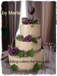 My Wine Themed Wedding Cake: Making a wedding cake with butter cream for the first time was a challenge but after many late hours and lots of tears my wedding cake with fondant grapes
