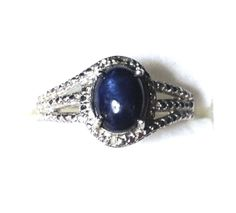 Blue Sapphire Ring, Diamonds Sterling Silver Platinum overlay (Size 9) 2.73 Ctw. #BlueGemstoneJewelry #SolitairewithAccents