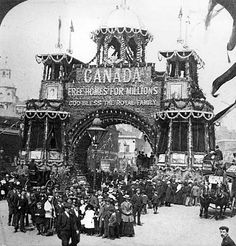 """""""The Wonderful Canadian Arch in Whitehall"""" as the London Sphere described it was erected on the ceremonial route from Buckingham Palace to Westminster Abbey for the coronation of King Edward VII in July """"Free Homes for Millions"""" x Cool Countries, Countries Of The World, Canadian History, American History, All About Canada, Canadian Things, Immigration Canada, Canadian Travel, O Canada"""