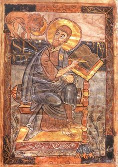 book of mark; page with mark the evangelist | Page with Mark the Evangelist, Godescalc Gospel Lectionary, Gospel of ...