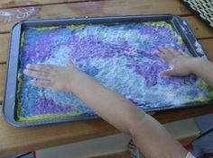 To make sheets of homemade felt use a cookie sheet! (What a great way to control the edges for a piece intended for wall art. dcm)