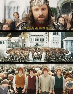This scene gets to me. It's the essence of Tolkien, I think, with the great king bowing to those others would consider so below him. But it is the little man who is the true hero. The private, not the general, is the true hero. This is how the world should be. Every one has their place, even great leaders, but we should give the honors to the little men as well.