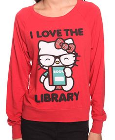 """This is so me! """"Nerd"""" Hello Kitty + """"I love the library"""" slogan = the perfect t-shirt. A definite """"wishlist"""" item."""