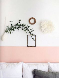 wall paint color ideas pink and white wall
