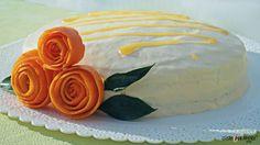 Orange yogurt cake - A yogurt sponge cake filled with orange marmalade and covered with a yogurt cream; #oliveoilrecipes #cakerecipes - gusto per amore
