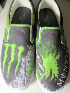 Monster Energy SlipOn Shoes by ExNihiloShoes on Etsy